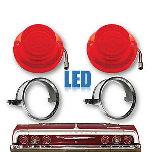 64 Chevy Impala Bel Air Biscayne LED Tail Light Lamp Lens & Chrome Trim Pair