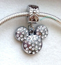 Silver Charm Bead Stopper Lock Clip fits Authentic European bracelet Gem Mickey