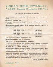 BUONI DEL TESORO NOVENNALI 4% 1942 CREDITO ITALIANO SOTTOSCRIZIONE  12-136