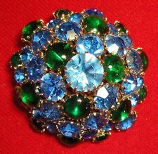 Vintage Dome Pin ~ Rhinestones & Cabochons ~ Prong Set in a Gold Tone Setting