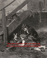 Rabbit Children Playing with Domestic Rabbits and Barn Cat, 1890s Antique Print