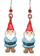 BLUE & RED GARDEN TRAVEL GNOME DANGLE EARRINGS (D094)