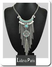 Halskette XL Kollier Paris Statement Kette Türkis Boho Halskette