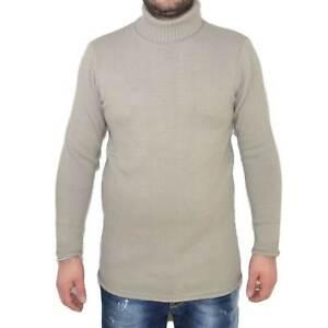 Maglione collo alto art..4432 beige made in italy moda tendenza slim