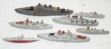 7 Vintage Tootsietoy & Aus-Rubr Military Wwii Naval War Ships Battleships Toys