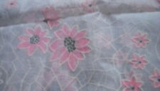 Vintage Flocked Fabric Sheer Fabric with  Pink Flowers  28 x 43