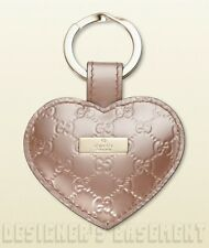GUCCI pink Micro GUCCISSIMA Leather LOGO plate HEART charm KEY Ring NIB Authentc