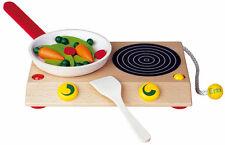 Erzi Kochstudio * Tisch-Spielherd mit Pfanne + Gemüse Kinder-Herd aus Holz 10690