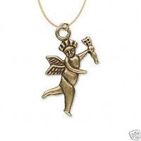 Vintage Celestial CUPID CHERUB ANGEL w-ARROW PENDANT NECKLACE Love Charm Jewelry