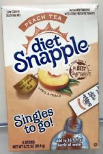 6 Boxes Diet Snapple PEACH TEA Mix total : 36 Singles To Go Packets