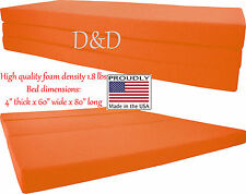 "Queen Size Orange Trifold Floor Foam Beds 4""x60""x80"" Foldable foam Ottoman Bed"