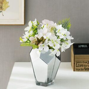 MyGift 6 Inch Silver Glass Flower Vase with Multi-Faceted Mirror Finish
