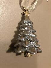 Enamel Christmas Tree Hanging Decoration Gold With Silver Glitter Christmas Tree