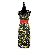 Etcetera Dress 4 Sheath White Black Gold Mustard Silk Bl Red Waist Stretch Sexy