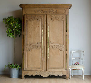 French Antique 19C Knockdown Oak Armoire / Double Wardrobe with Hanging Rail