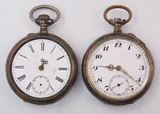 Lot of 2 .800 Silver Pocket Watches For Parts Cylindre 10 Rubis  (#4126)