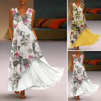 ZANZEA Womens Layered Flare Swing Kaftan Long Maxi Dress Printed Floral Sundress