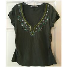 Athleta Tahoe Top Embroidered Short Sleeve Cotton Ruched Green M Medium