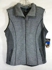 NWT! KUHL Grey Kozet Faux Shearling Vest Sleeveless Jacket Top Flattering L b7