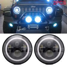 2PC 7 Inch Round LED Headlight Halo Angle Eye For Jeep Wrangler 1997-2016