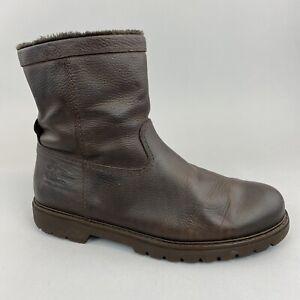 Panama Jack Dark Brown Waxed Oiled Leather Ankle Zip Up Fleece Boots EU45 UK11