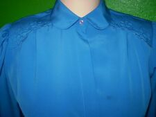 ANNE FRENCH LIQUID SILKY FLUID SHIRT TOP DRESS SUIT BLOUSE VINTAGE 4 6 SMALL
