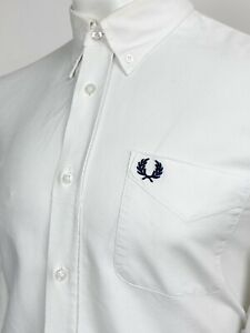 Fred Perry   Long Sleeve Oxford Shirt L 42 (White) Mod Scooter Skins 60s Casuals