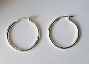 Sterling Silver Hoop Creole Earrings 1.9g NEW Xmas Gift Mum Wife BFF Present 925