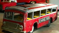Vintage Tin Toy School Bus Friction 60's Red China Mf 887