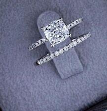 Certified 3.00 Ct Cushion Diamond Engagement Wedding Ring Set 14k White Gold