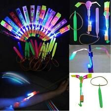 5/10Pcs Flying Rotating Rocket Helicopter Flash LED Light Toy Fun Elastic Gift