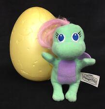 "Playskool Dragon Tales Baby 4"" Mini Aqua Purple Plush Yellow Plastic 5"" Egg 1999"