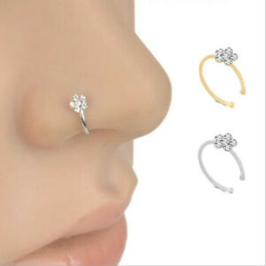 Fake Clip On Pretty Delicate Flower Clear Crystal Nose Ring Non Piercing Needed