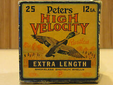 "Vintage Peters High Velocity 12 ga 3"" Shotgun Shell Box EMPTY Rare Extra Length!"