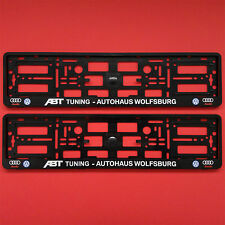 2x ABT TUNING AUTOHAUS WOLFSBURG Number Plate Surrounds Holder For Audi Quattro