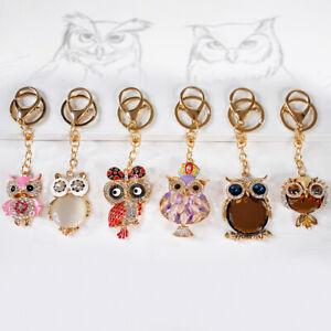 Goodiz Sparkle Crystal Owl Rhinestone Key Ring Keychain Bag Charm Gift Keyring