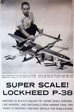"Vintage P-38 52"" UC Super Scale PLANS + Construction Article for Model Airplane"