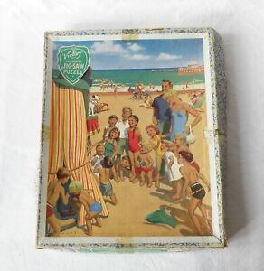VICTORY WOODEN JIGSAW PUZZLE. BRITISH RAIL POSTER. RHYL SEA FRONT. PUNCH & JUDY