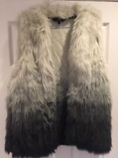 Next Womans Fur Gilet Black And White Size 12 With Pockets