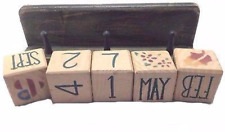Terry's Village Wood Block Calendar With Shelf, Distressed Green, Set of 6 - NEW