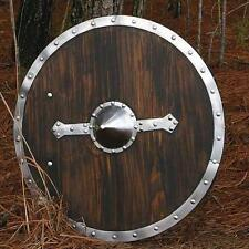 "MEDIEVAL NORSEMAN VIKING SAXON Wood Metal Accent SHIELD ARMOR 29"" Diameter New"