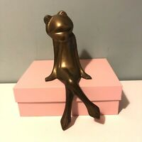"Brass Frog Figurine Ornament Sitting On Shelf 9"" Tall Collectable Home Decor"