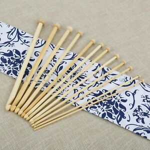 12pc/Set Beaded Crochet Hooks Ball Head Bamboo Knitting Needles Handcraft 3-10mm