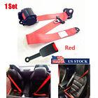 Red Adjustable Seat Belt Car Truck Lap Belt Universal 3 Point Safety Travel USA
