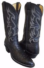 NOCONA Black FULL QUILL OSTRICH Cowboy Boots Women 11 Men 9.5 UK 9 Extra Narrow