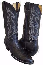 NOCONA Black FULL QUILL OSTRICH Cowboy Boots Women 11 Men 9.5 UK 9 Extra Narrow
