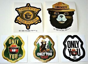5 Smokey The Bear Prevent Forest Fire Patrol Badge Shaped Stickers NOS New 2000s