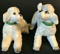 LEFTON POODLE DOG FIGURINES SET OF 2 VINTAGE PORCELAIN GREEN COLLARS VINTAGE