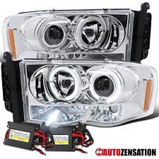 Dodge 02-05 Ram 1500/2500 Clear LED DRL Halo Projector Headlights+6000K HID Kit