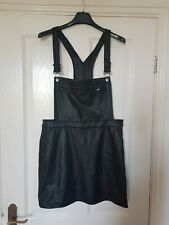 H&M - PU DUNGAREE DRESS - BLACK - SIZE 12 - RRP £19.99 FULL ADJUSTABLE STRAPS